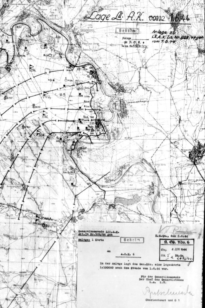Новая линия обороны по Днестру после ликвидации предмостного укрепления Бутор