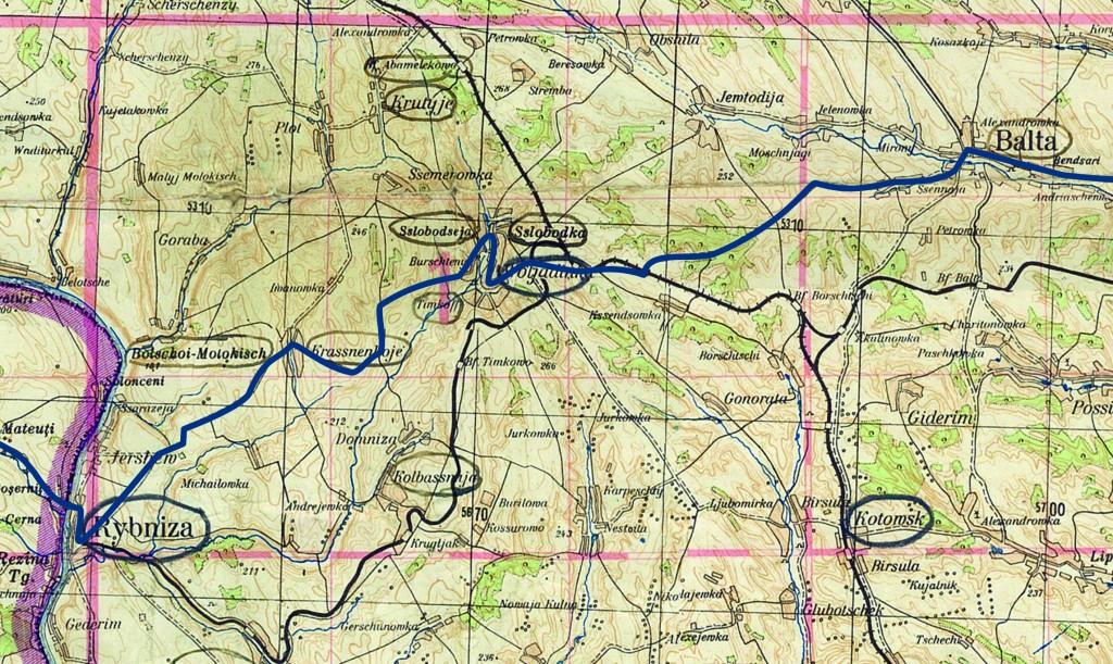 Карта 2. Переход Балта - Слободка - Рыбница