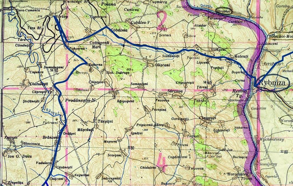 Карта 3. Переход на позиции Котюжэнь Маре - Хыртоп